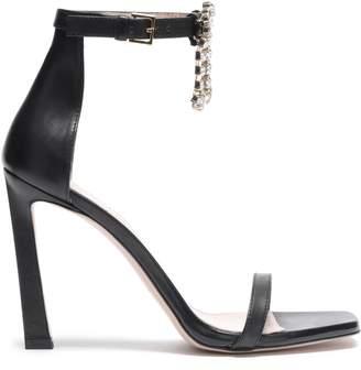 Stuart Weitzman Embellished Cutout Leather Sandals