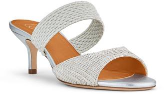 Malone Souliers Milena Metallic Kitten-Heel Slide Sandals