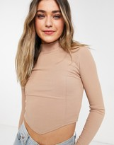 Thumbnail for your product : New Look pointed hem corset seam high neck top in camel
