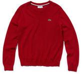 Lacoste Boys' Crew Neck Wool Blend Jersey Sweater