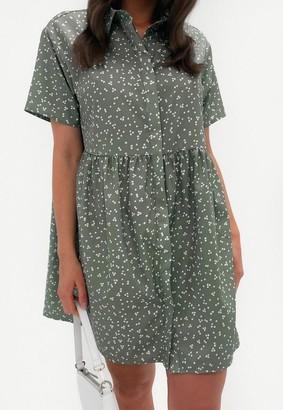 Missguided Sage Polka Dot Shirt Smock Dress