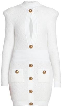 Balmain Perforated Diamond Cutout Knit Dress