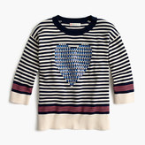 J.Crew Girls' striped popover sweater with sequin heart