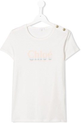 Chloé Kids TEEN press stud T-shirt
