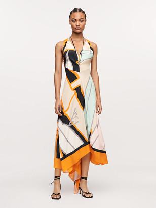Diane von Furstenberg Octavia Silk Crepe de Chine Asymmetrical Midi Dress