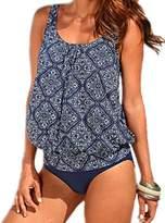 XIAOLI COLLETION Floral Women Plus Size Two Piece Swimsuit Blouson Tankini Set