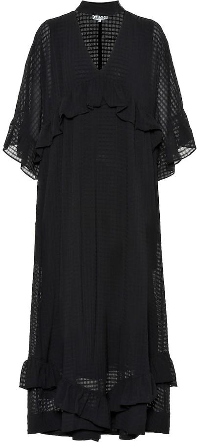 Ganni Seersucker Maxi Dress Shopstyle