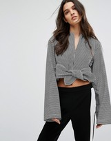 House of Sunny House Of Sunny Tie Front Crop Top With Long Sleeves