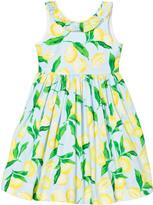 Oscar de la Renta Blue Lemon Print Cotton V Back Dress