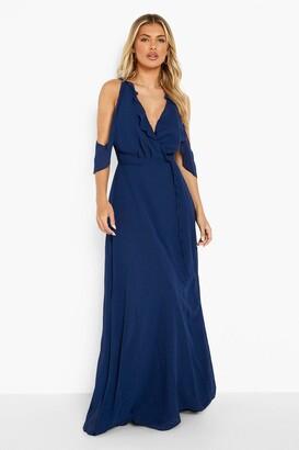 boohoo Chiffon Frill Wrap Maxi Bridesmaid Dress