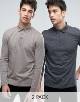 Asos 2 Pack Long Sleeve Jersey Polo In Gray/Charcoal Marl SAVE