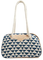 Sole Society Getaway Woven Weekend Bag - Blue