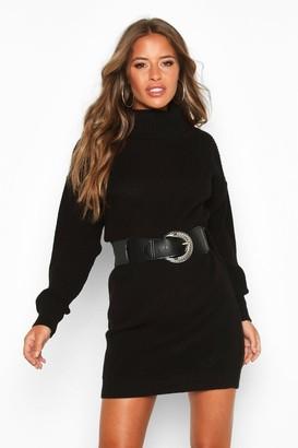 boohoo Petite Belted Roll Neck Rib Jumper Dress