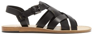 Dolce & Gabbana Cross-strap Leather Sandals - Black