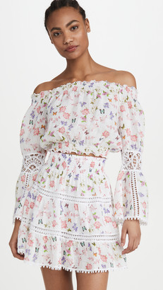 Temptation Positano Ravello Linen Off Shoulder Crop Blouse