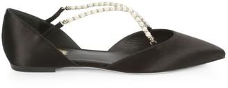 Rene Caovilla Eliza Faux Pearl-Embellished Satin Ballerina Flats