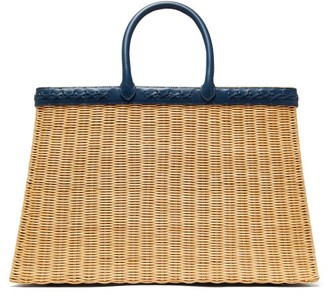 Sparrows Weave - The Tote Large Wicker And Leather Basket Bag - Navy Multi