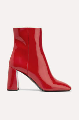 Prada 85 Patent-leather Ankle Boots - Red