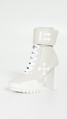 Off-White Off White Arrow Heeled Moto Wrap Boots