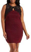 Charlotte Russe Plus Size Crochet-Trim Bodycon Dress