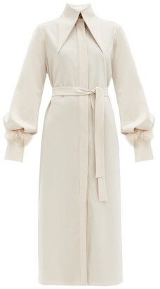 16Arlington Namika Feather-trimmed Poplin Shirt Dress - Light Beige