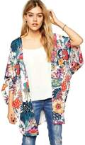 Aribelly Women Casual Floral Print Kimono Cardigan Tops (XXL)