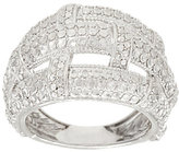 Silver Style Basket Weave Diamond Cut Sterling Domed Ring