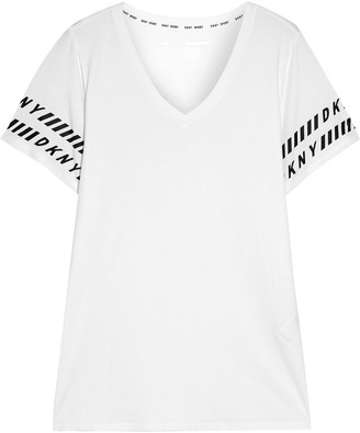 DKNY Printed Stretch Cotton And Modal-blend Jersey T-shirt