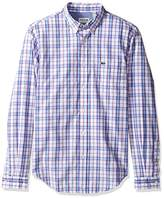 Lacoste Men's Long Sleeve Check Poplin Regular Fit Woven Shirt