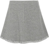 See by Chloe Crepe De Chine-trimmed Herringbone Wool-blend Mini Skirt - Gray