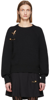 Versace Black Oversized Safety Pin Sweater
