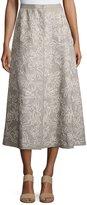 Lafayette 148 New York Embroidered Linen Midi Skirt, Gray