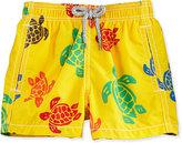 Vilebrequin Turtle-Print Swim Trunks, Yellow/Multicolor, Size 2-6