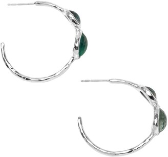 Ippolita 925 Sterling Silver, Onyx, Clear Quartz & Mother-Of-Pearl Hoop Earrings