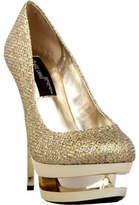 Women's Highest Heel Diamond-111 - Gold Woven Glitter High Heels