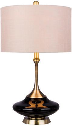 "Fangio Lighting Black Glass & Antique Brass Metal Glass, Metal Table Lamp, Retro 26.5"""