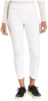Tribal Pull-On Jeggings w/ Curved Frayed Hem in White (White) Women's Jeans