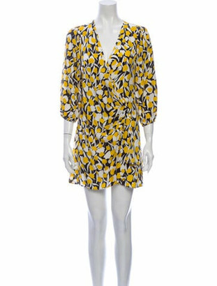 Rixo Printed Mini Dress Yellow Printed Mini Dress