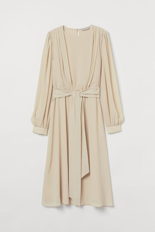 H&M - Creped Dress - Beige
