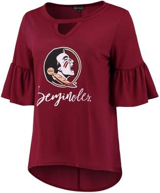 Unbranded Women's Garnet Florida State Seminoles Ruffle And Ready Keyhole Tri-Blend 3/4-Sleeve T-Shirt