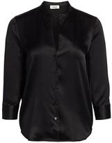 L'Agence Aoki Three-Quarter Sleeve Silk Blouse