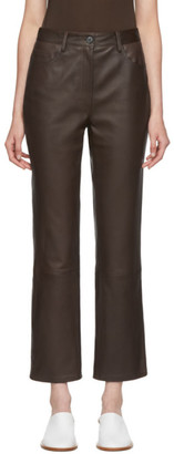 The Row Brown Leather Charlee Trousers