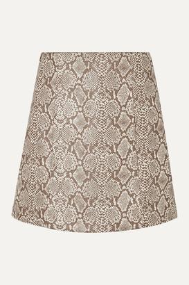ALEXACHUNG Snake-effect Faux Leather Mini Skirt - Ecru