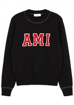 Ami Black Appliquéd Wool Jumper