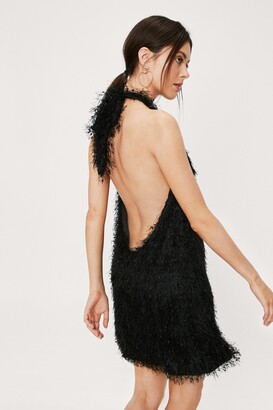 Nasty Gal Womens Fringe Halter Neck Mini Swing Dress - Black - 12