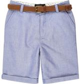 River Island Boys blue belted Oxford shorts