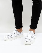 Armani Jeans All Over Logo Trainers In White