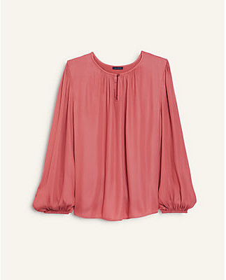 Ann Taylor Petite Keyhole Mixed Media Top