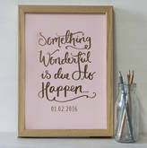 & So They Made Personalised Something Wonderful Baby Shower Print