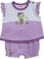 Schnizler Girl's Interlock 2 tlg. mit T-Shirt Sonnenblume und karierter Shorts Clothing Set - Purple -